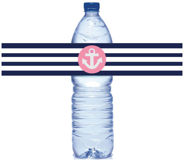 image of nautical water bottle labels