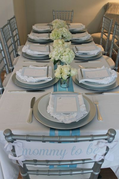 picture of blue baby shower tablescape