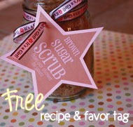 banner for sugar scrub recipe and free matching tags
