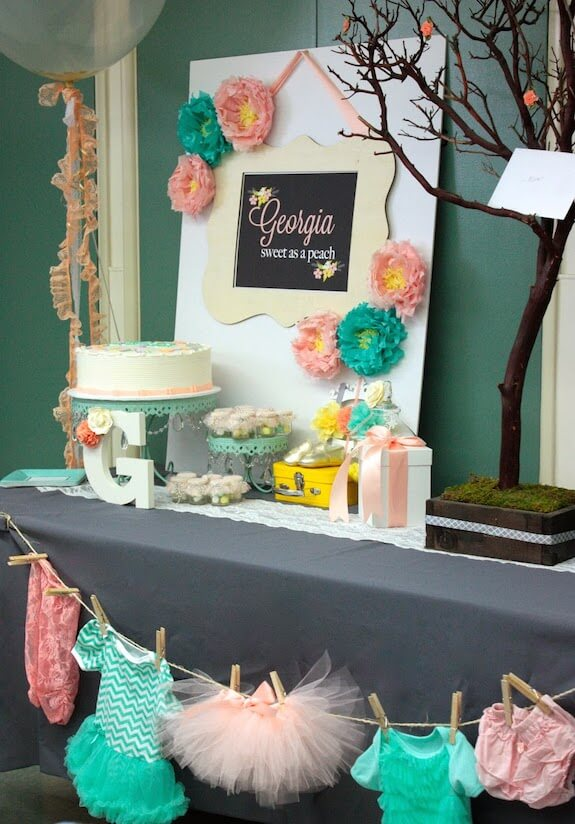 peach and teal baby shower picture