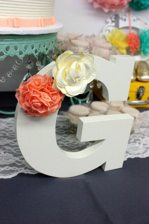 peach baby shower wooden letters