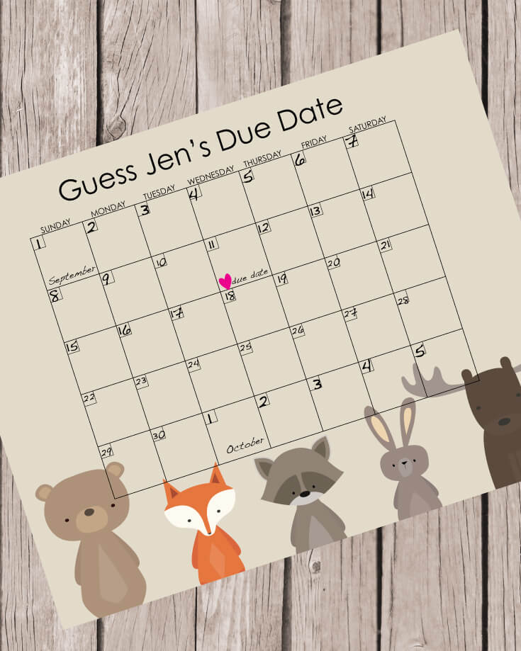 Printable Guess The Baby's Due Date Calendar Woodland Baby Shower Theme