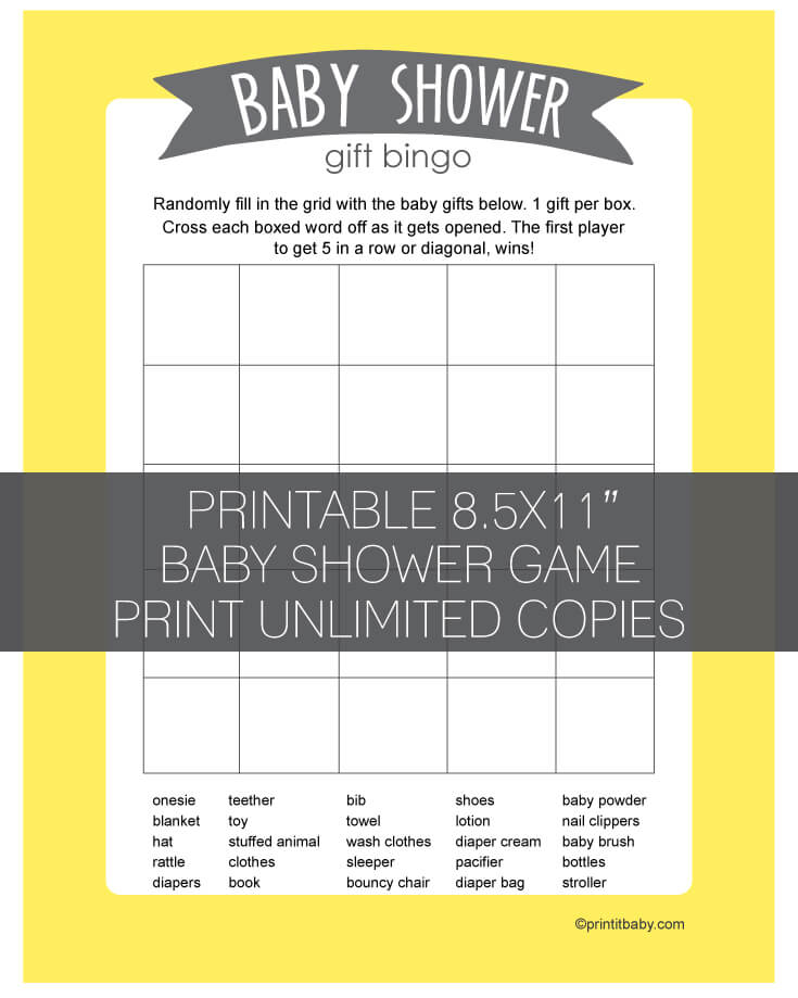 Printable yellow baby shower gift bingo game banner