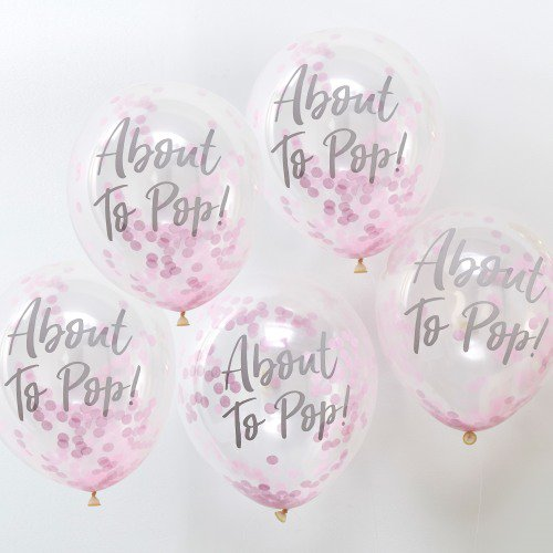 pink about to pop baby shower balloons