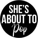 banner of she's about to pop baby shower theme