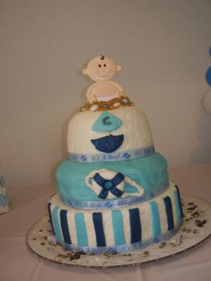 image of an Ahoy It's A Boy Cake