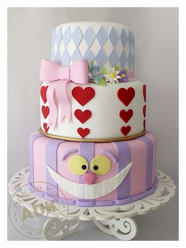 Alice In Wonderland baby shower cakes banner