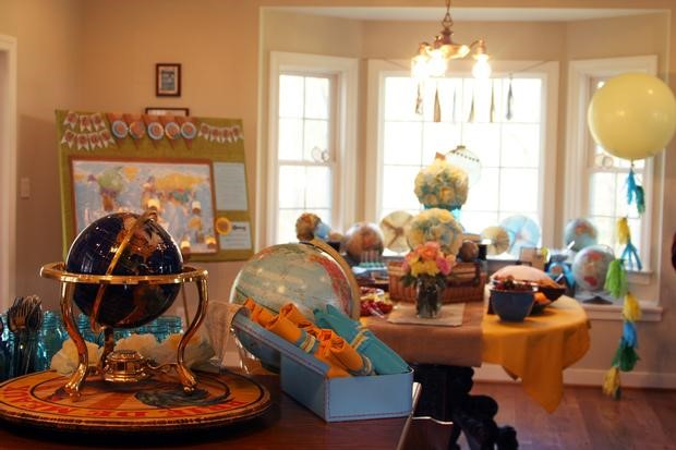 Welcome to the world baby shower theme ideas with for Around the world party decoration ideas