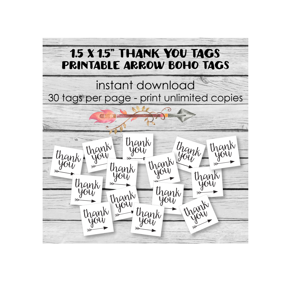 printable boho arrow favor tags
