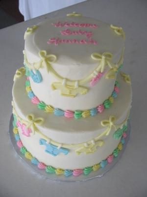 image of pastel baby clothes cake
