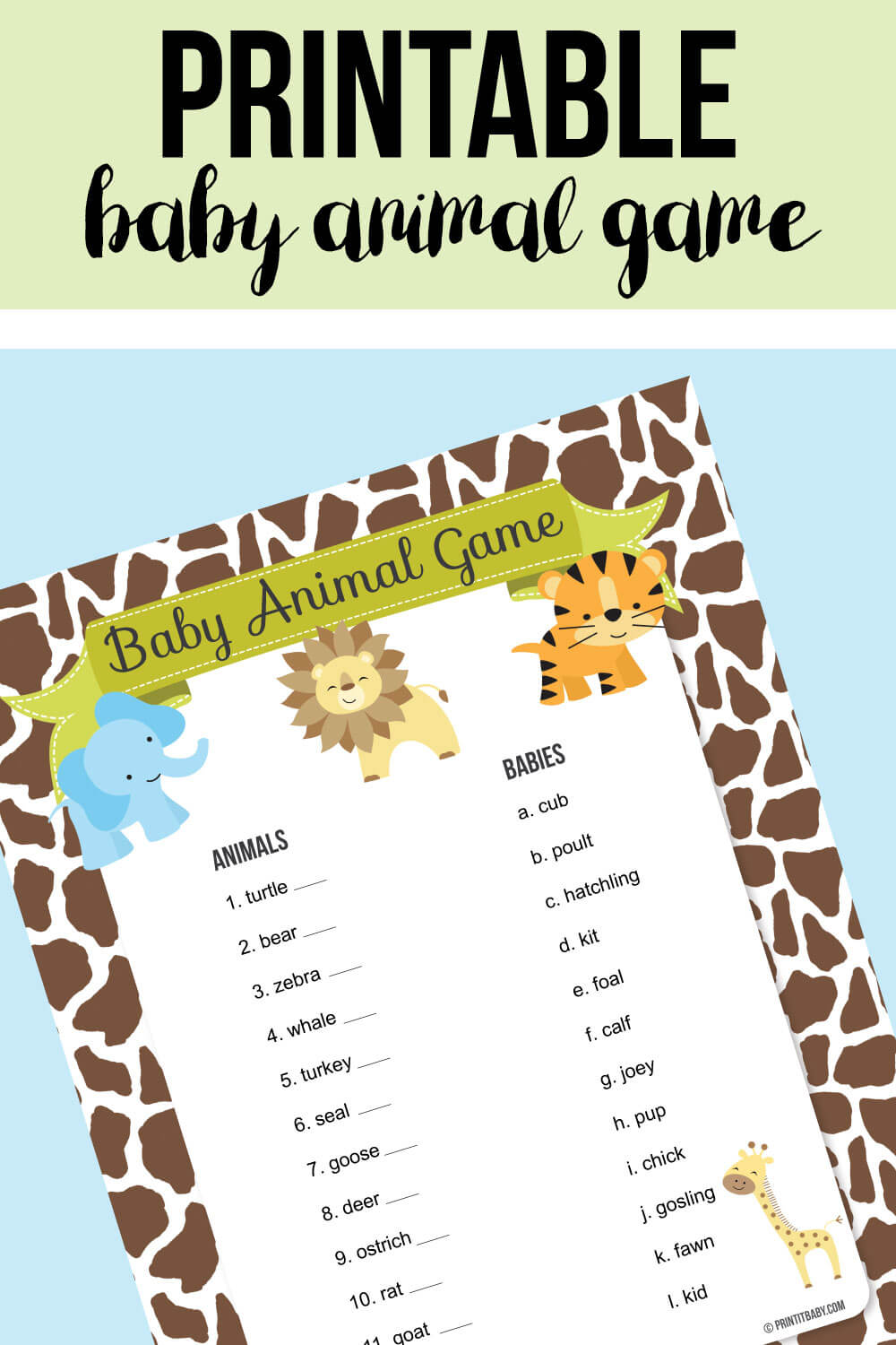 Image for printable baby animal jungle game