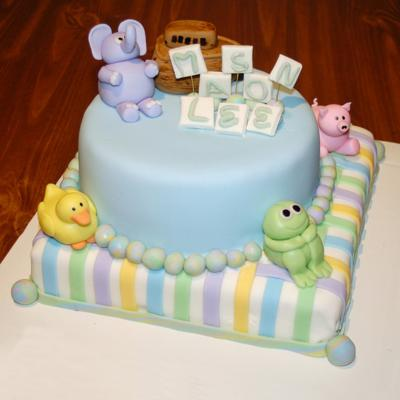 image of a fondant baby animals cake