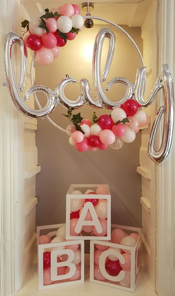 baby balloon hula hoop for a baby shower
