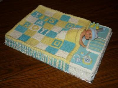 image of a Baby Bed Baby Shower Sheet Cake