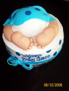 Blue Polka Dot Baby Bottom Cake picture