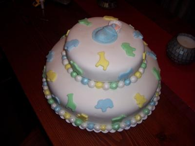 image of baby boy baby shower cake