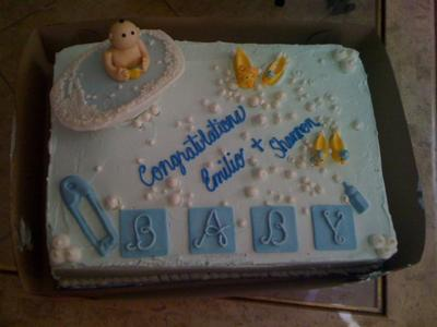 picture of a blue baby shower cake