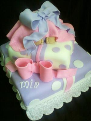 Image of pastel baby bottom cake