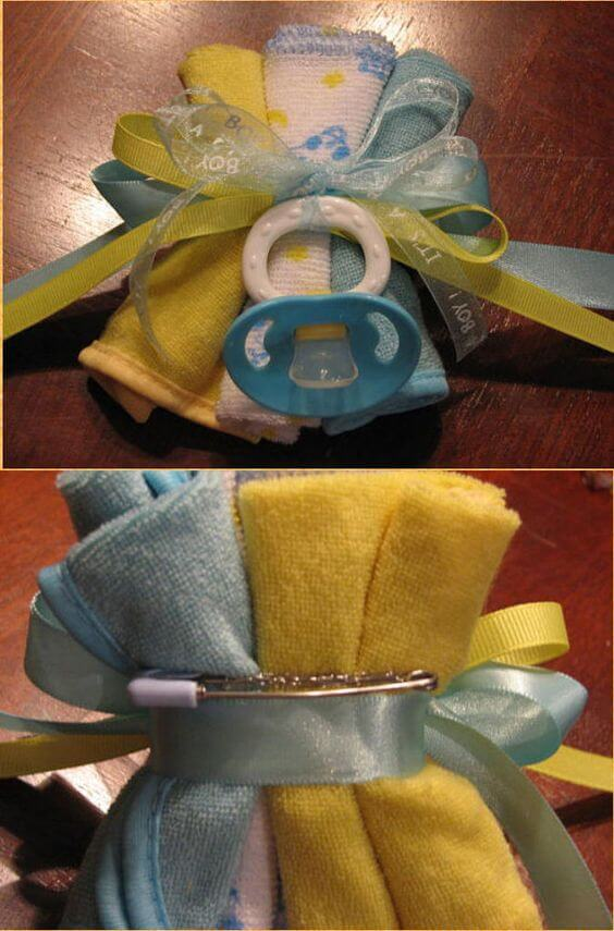 image of baby shower washcloth corsage