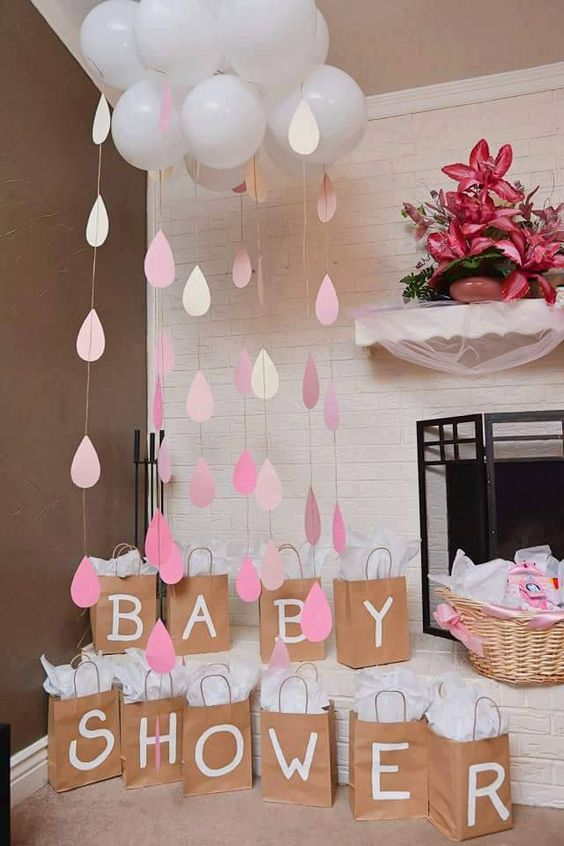 image of baby shower balloon clouds and raindrops : baby shower decoration ideas homemade - www.pureclipart.com