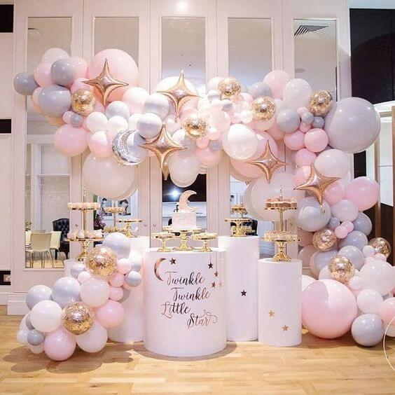 Beautiful Twinkle, Twinkle Little Star Balloon Arch With Moon & Star Balloons