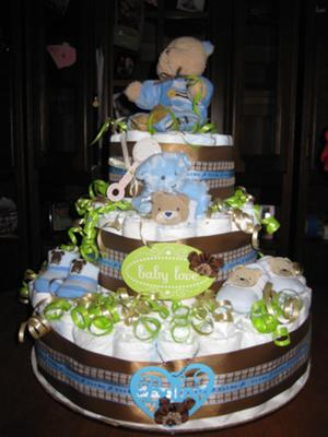 Diaper Cake Ideas For Baby Boy : Diaper Cakes For Baby Boy Showers CutestBabyShowers.com