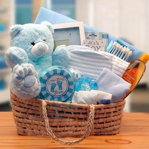 Baby shower gift basket for a boy