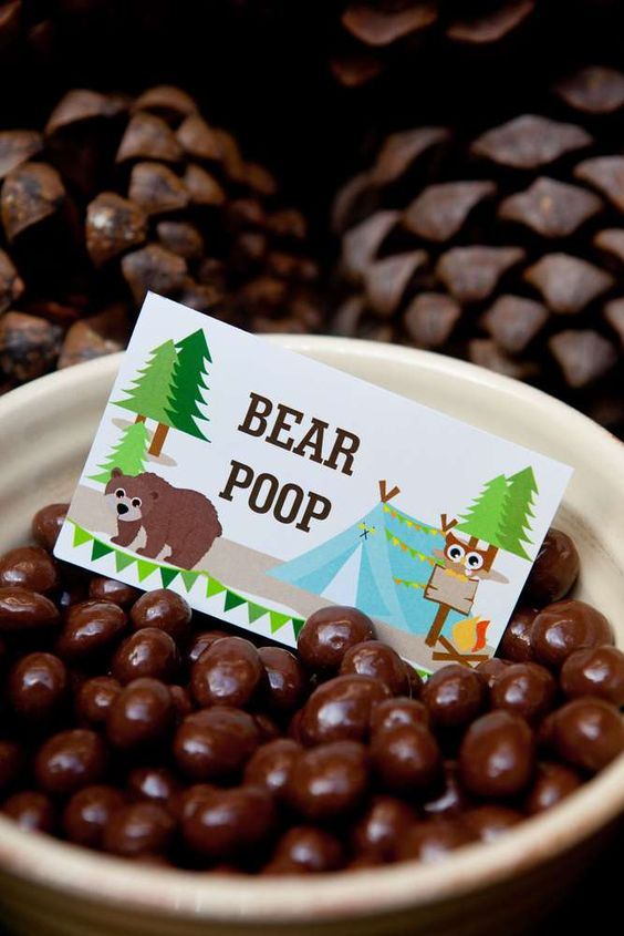 Woodland baby shower snacks bear poop treats