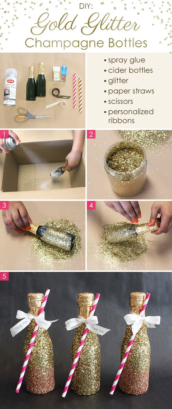 banner of DIY glitter champagne bottles