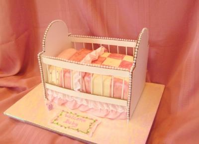 picture of a Sweet Pink Baby Shower Crib Cake