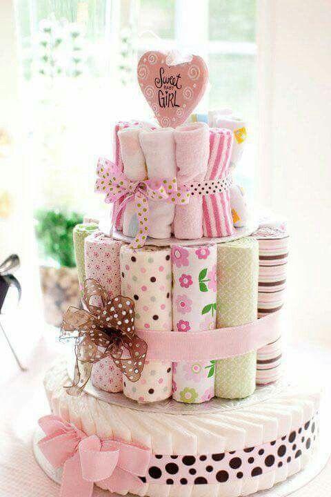 baby blanket washcloth diaper cake image