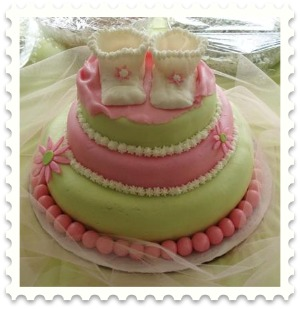 pink and mint green baby bootie cake picture