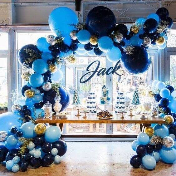blue balloon arch baby shower decorations