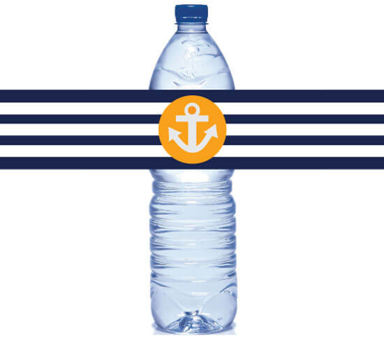 picture of orange and blue nautical water bottle labels