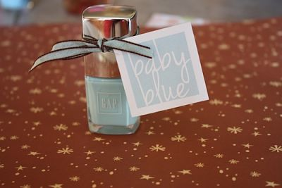 picture of blue nail polish and favor tags
