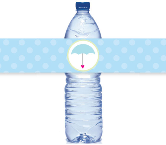 picture of printable umbrella water bottle labels