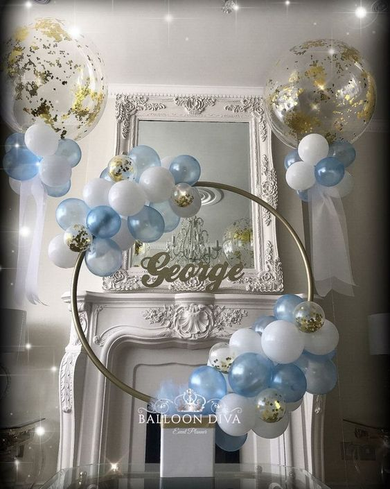 blue and white balloon hoop baby shower decor