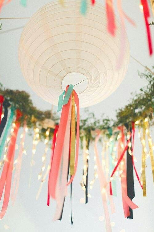 image of a boho paper lantern for a baby shower
