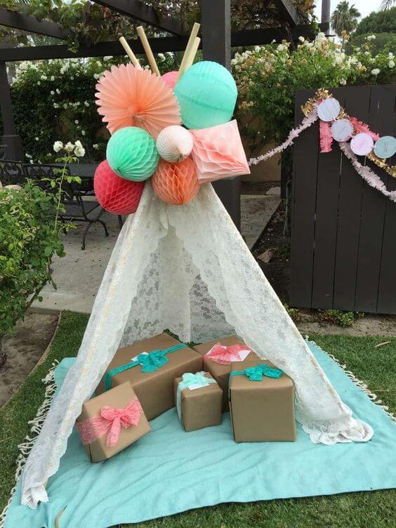 tribal themed baby shower decor image