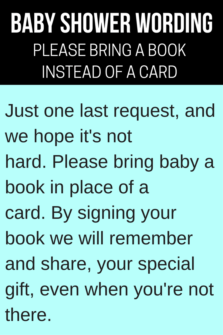 baby book instead of a card wording ideas banner