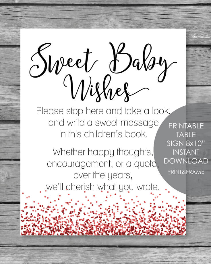 Sweet Baby Book Wishes Red Confetti Theme Printable Baby Shower Activity