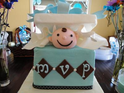 image of boy baby shower present cake