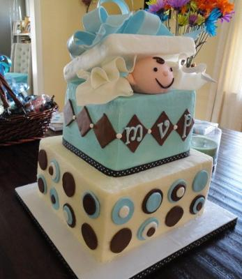 picture of large present baby shower cake