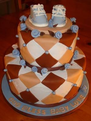 image of brown and blue converse cake