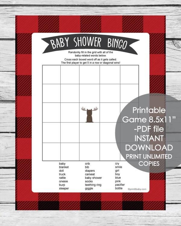 Printable buffalo plaid baby shower bingo game