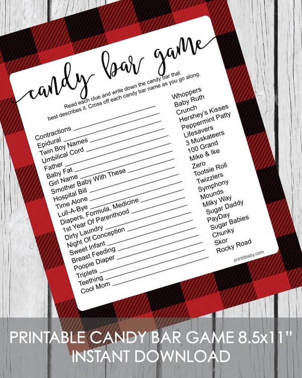 Printable buffalo plaid baby shower candy bar game