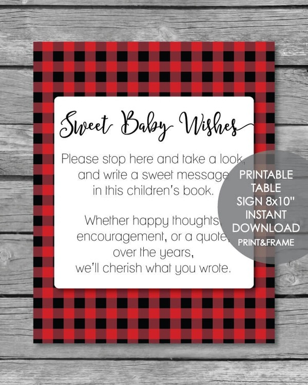 Printable red buffalo plaid sweet baby wishes sign