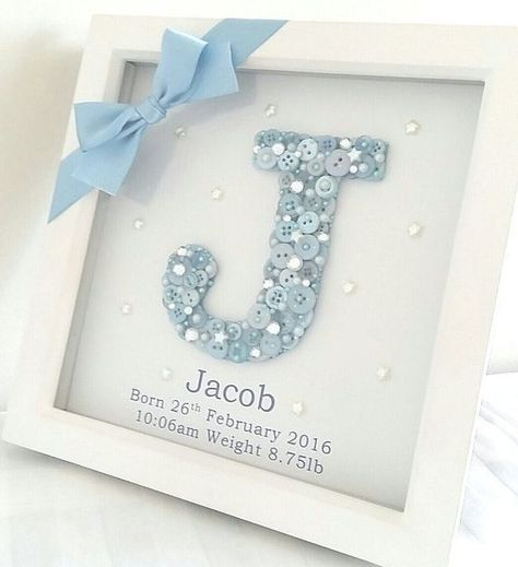 Blue button letter sign for a baby gift