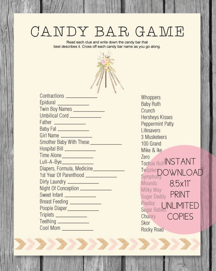 photograph relating to Candy Bar Baby Shower Game Free Printable named Printable Child Shower Sweet Bar Match