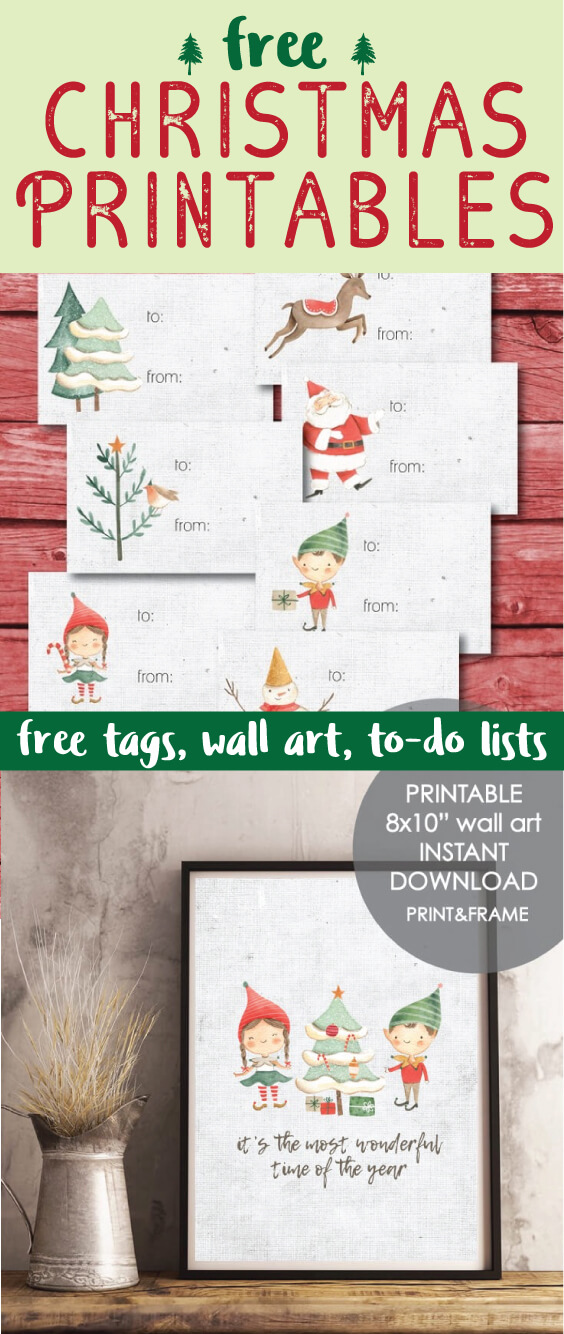 Free Christmas Printables - gift tags, wall art, holiday to-do lists